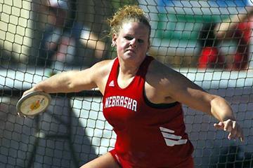 Becky Breisch of Nebraska won the women's Discus 60.71m (Kirby Lee)
