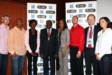 Jonathan Edwards, Maurice Greene, Janeth Jeposgei, IAAF President Lamine Diack, Sanya Richards, Jeremy Wariner, Jonas Wistrom CEO of AF and Susanna Kallur pose at the launch of the AF Golden League (Getty Images)