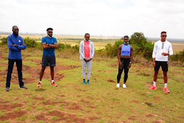 From left: Leonard Bett, Collins Omae, Mercy Cherono, Kristal Awuah and Tazana Kamanga- Dyrbak at the pre-meet press conference in Nairobi National Park (LOC)