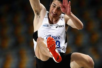 Fabrice Lapierre en route to his come-from-behind 8.29m leap in Brisbane (Getty Images)