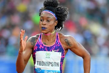 Elaine Thompson en route to her 100m triumph in Rabat (Jiro Mochizuki)