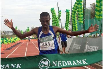 Lesotho's Mabothile Lebopo winning the men's marathon (Mark Ouma)