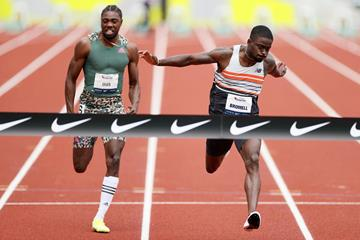 Trayvon Bromell wins the 100m at the USATF Grand Prix in Eugene (Getty Images)