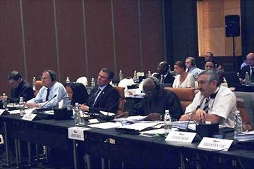 IAAF Vice President Bob Hersh, Senior Vice President Sergey Bubka, President Lamine Diack, and General Secretary Pierre Weiss at the Council Meeting in Doha (IAAF)