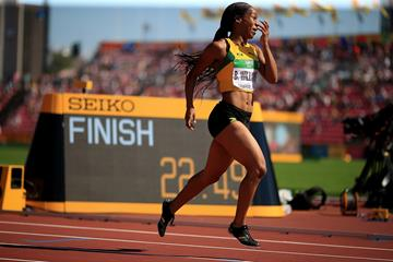 Briana Williams wins the 200m at the IAAF World U20 Championships Tampere 2018 (Getty Images)