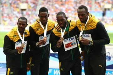 Mens Jamaican Team in the 4x100m Relay at the IAAF World Athletics Championships Moscow 2013 (Getty Images)