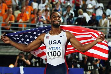 100m gold medallist Tyson Gay celebrates his first World title (Getty Images)