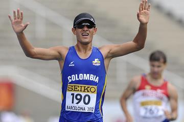 Eider Arevalo wins the 10,000m race walk at the 2012 IAAF World Junior Championships in Barcelona (Getty Images)