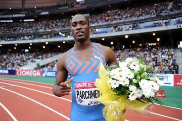 Hansle Parchment after winning the 110m hurdles at the IAAF Diamond League meeting in Paris (Jiro Mochizuki)