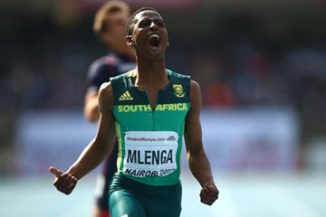 Retshidisitswe Mlenga wins the 200m at the IAAF World U18 Championships Nairobi 2017 (Getty Images)