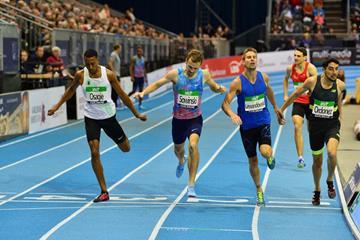 Close! Men's 800m in Karlsruhe. Marcin Lewandowski got the win. (Jiro Mochizuki for the IAAF)