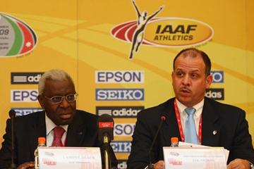 HRH Prince Feisal Al Hussein (R) of Jordan and Lamine Diack, President of the IAAF, at the LOC press conference in Amman (Getty Images)