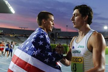 Gunnar Nixon of United States is congratuled by the silver medal Jake Stein of Austrlia after winning the gold medal of the Decathlon event on the day two of the IAAF World Junior Championships in Barcelona 2012 (Getty Images)