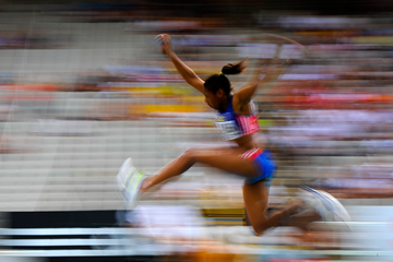 Action from the women's triple jump (Getty Images)