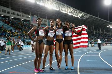 USA's gold medal-winning women's 4x100m team at the 2014 IAAF World Relays (Getty Images)
