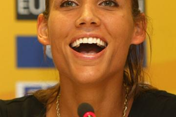 Lolo Jones at the IAAF/VTB Bank World Athletics Final press conference in Stuttgart (Bongarts/Getty Images)