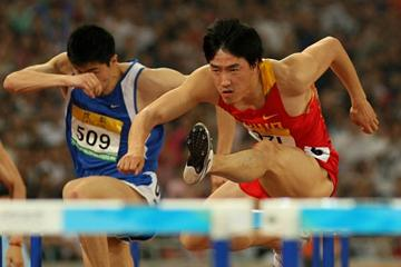 Liu Xiang en route to his Good Luck Beijing victory (Getty Images)