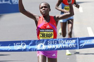 Sharon Cherop wins the women's race at the 2012 BAA Boston Marathon (Victah Sailer)