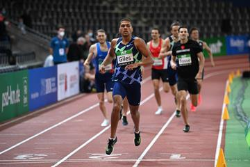 Elliot Giles wins the 800m at the World Athletics Indoor Tour meeting in Karlsruhe (Getty Images)