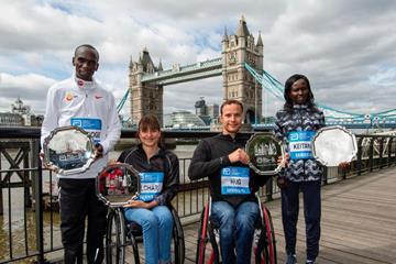Abbott World Marathon Majors Series XI champions: Eliud Kipchoge, Manuela Schär, Marcel Hug and Mary Keitany (AbbottWMM)