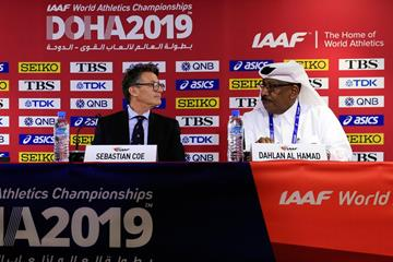 IAAF President Sebastian Coe and LOC Vice President Dahlan Al Hamad at the press conference ahead of the IAAF World Athletics Championships Doha 2019 (Getty Images)