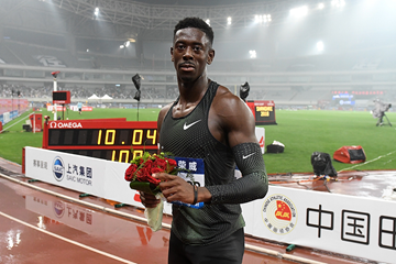 Reece Prescod after winning the 100m at the IAAF Diamond League meeting in Shanghai (Errol Anderson)