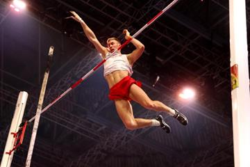 Piotr Lisek in the pole vault at the IAAF World Indoor Championships Birmingham 2018 (Getty Images)