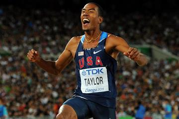 Christian Taylor of the USA celebrates his first place during the men's triple jump final  (Getty Images)