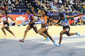 Marie-Josee Ta Lou wins the 60m at the IAAF World Indoor Tour meeting in Glasgow (Mark Shearman)
