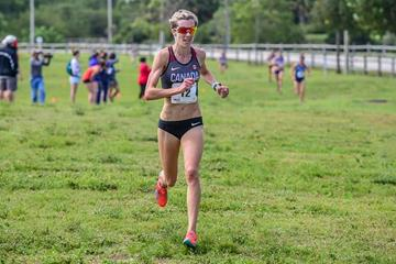 Canada's Sasha Gollish winning the senior race at the NACAC Cross Country Championships in Boca Raton (Mike Scott (organisers))