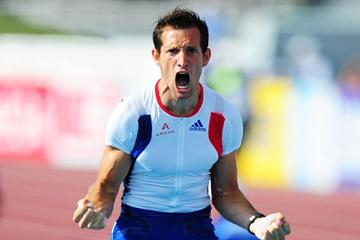 Renaud Lavillenie after his 5.97m world lead in Helsinki (Getty Images)