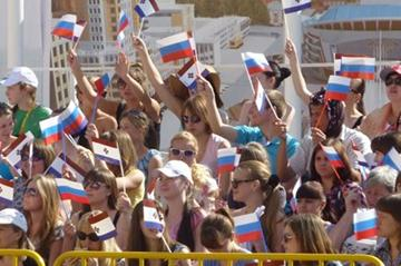 Russians flags waved by local supporters at the IAAF World Race Walking Cup in Saransk (IAAF)