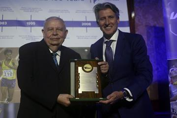 Roberto Gesta De Melo receives an IAAF Commemorative Plaque from IAAF President Sebastian Coe - CONSUDATLE Centennial Dinner, Gran Salon, Panamerican Hotel, Buenos Aires (Getty Images for IAAF)