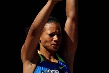 Hyleas Fountain shot putting in the Heptathlon at the US Olympic Trials (Getty Images)
