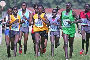 The field in the women's 8km race at the Kenya Police National Cross Country Championships at the Ngong Racecourse in Nairobi on Saturday. Vivian Cheruiyot (0683) won the race with Linet Masai (right) second and Grace Momanyi (third from left) third. (MOHAMMED AMIN/ Daily Nation)