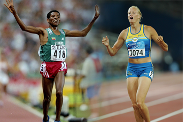 Haile Gebrselassie and Carolina Kluft (Getty Images)