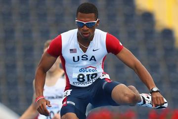 Johnny Dutch of USA in action during the Men's 400m Hurdles heats (Getty Images)