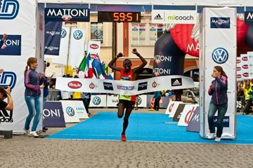 Daniel Chebii winning at the 2012 Half Marathon in Budejovice.  (Organisers)