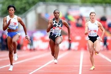 Dina Asher-Smith on her way to a 100m win at the Muller Grand Prix Gateshead (Getty Images)