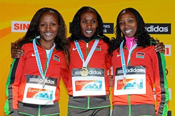 Silver medallist Mary Wacera, gold medallist Gladys Cherono and bronze medallist Sally Chepyego at the 2014 IAAF World Half Marathon Championships (Getty Images)