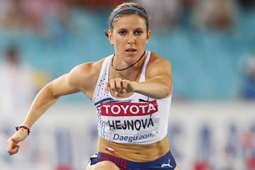 Zuzana Hejnova of the Czech Republic in the 400m Hurdles at the 2011 World Championships (Getty Images)
