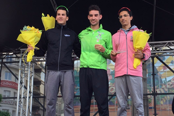 Men's podium at La Coruna, from left: runner-up Perseus Karlström, winner Álvaro Martín and Hassanine Sbai (Luis Gómez)