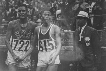 Billy Mills with Mohammed Gammoudi of Tunisia after the 1964 Olympic 10,000m final (Billy Mills)
