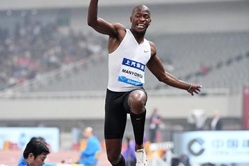 Long jump winner Luvo Manyonga at the IAAF Diamond League meeting in Shanghai (Errol Anderson)