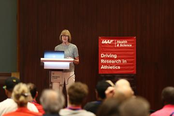 IAAF Council Member Sylvia Barlag addresses participants at the 1st International Conference on Road Races in Urban and Extreme Environments (Getty Images)