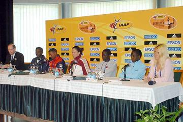 Press Conference - l to r Chris Turner (IAAF), Abebe Zeruen (Ethiopian National Coach), Zersenay Tadesse, Anikó Kálovics, Mubarak Hassan Shami, Edith Masai, Jolanda Ceplak (photo - Zsolt Czegledi)
