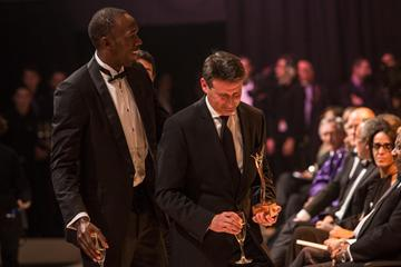 2012 World Athlete of the Year Usain Bolt and IAAF Hall of Fame member Sebastian Coe (Philippe Fitte)