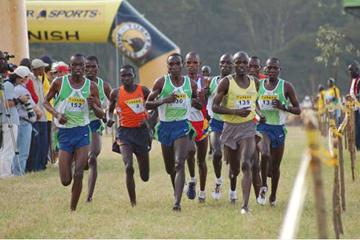 Eliud Kipchoge leading the men's race at the Kenyan trials in Nairobi (Ricky Simms)