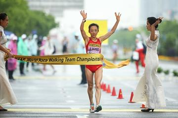 Liang Rui wins the women's 50km race walk at the IAAF World Race Walking Team Championships Taicang 2018 (Getty Images)