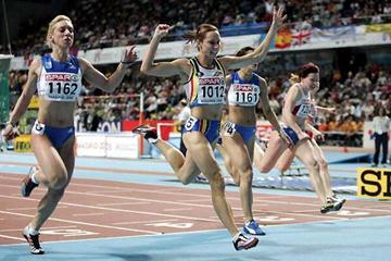 Kim Gevaert retains her 60m title in Madrid (Getty Images)